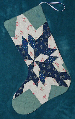 Awesome Primitive Antique Vintage Cutter Quilt Christmas Stocking! 17-35