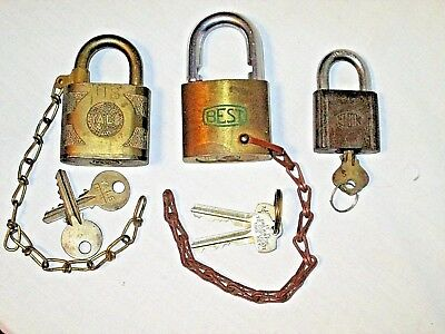 Vintage Brass Padlock Locks Best Yale Elgin Us Yale & Towne Mfg  All Have Keys