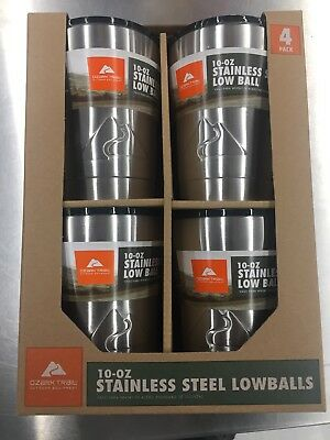 Ozark Trail 10 Oz Stainless Steel Lowball Vacuum Insulated Double Wall 4 Pack