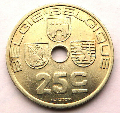 Belgium 25 Centimes 1938 Nickel-Brass KM#115.1 UNC