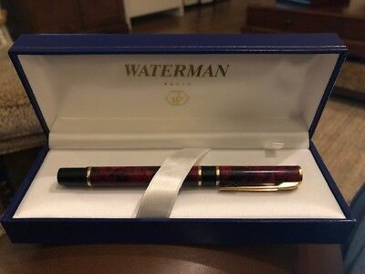 New Never Used Waterman Laureat Red Marble Roller Point Pen with Box and Manual