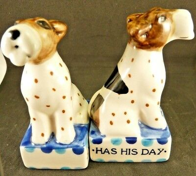 New Anthropologie Every Dog Has His Day Salt & Pepper Shaker by Artist David Cle