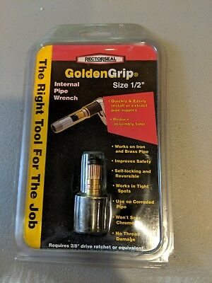 "New Rectorseal GoldenGrip Internal Pipe Wrench 1/2"", fits 3/8 socket, Ships Fast"