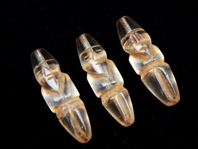 Lot Of 3 Old Tibetan Crystal Carved Ancient Figurine Shaped Beads #11171803