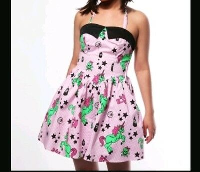 158e3fabdc5b Hell Bunny I Heart Zombie Unicorn Dress Hot Topic Lolita Dolly Pastel Goth  Pink