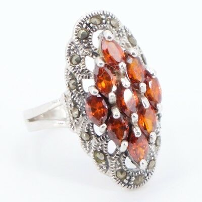 Sterling Silver - Elongated Marcasite Red Spinel Cluster Ring Size 7 - 6.4g