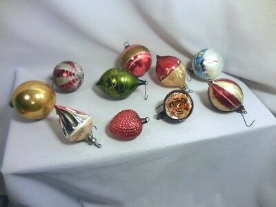 Fine Antique Lot 10 All Different 1920-1940 Hand Blown Glass Christmas Ornaments