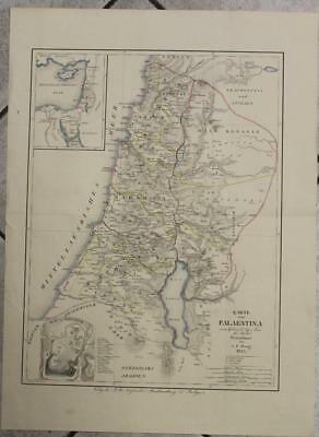 Israel & Holy Land 1825 G.f. Haug Antique Original Colored Lithographic Map