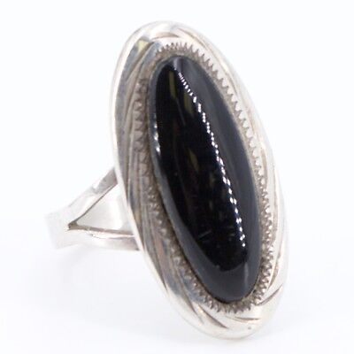 VTG Sterling Silver - MEXICO JLP Elongated Onyx Ring Size 6.75 - 4.2g