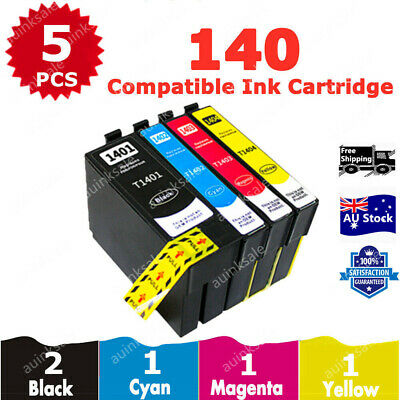 5X ink Cartridge T140 T1401-T1404 for Epson WF 3520 7520 3530 7510 625 630 3540