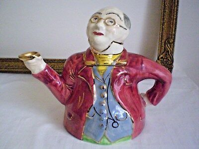 """Antique Lingard Teapot """"mr.pickwick Proposes A Toast"""" Hand Painted C.1930 Quirky"""