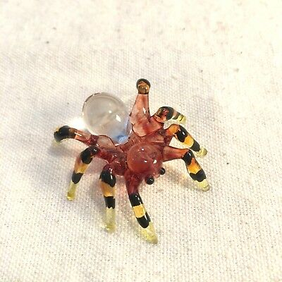 Spider Hand Blown Glass Animal Figurine Art  Miniature Black Lampwork Wild Craft