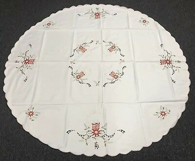 "White Christmas Embroidered 90"" Round Fabric Embroidery Tablecloth 12 Napkins"