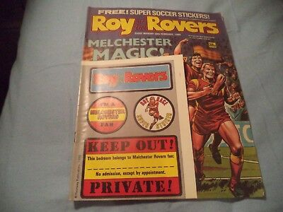 Vintage Roy Of The Rovers Comic With  Melchester Rovers Free Gift Stickers