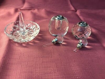 Vintage crystal glass ring holder pls 2 small Crystal perfume bottles as new