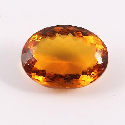 44.45 Cts Yellow Oval Shaped Man Mad Glass Loose Gemstone Faceted Free Size