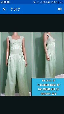 vintage mint green silk jumpsuit sleeveless