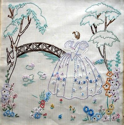 Vintage Hand Embroidered Linen Large Unframed Picture Crinoline Lady By A Bridge