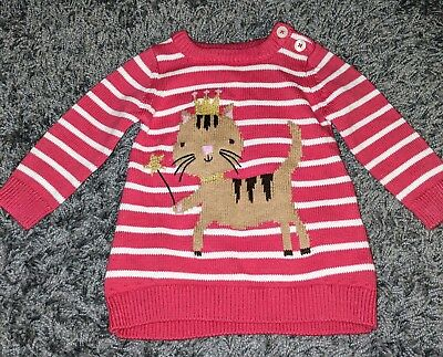 Joules Cat Pink Jumper Crown Princess 0-3 girl baby winter sweater striped