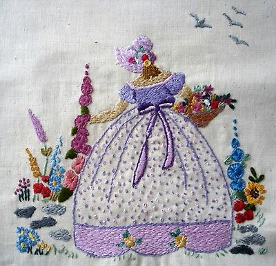 Vintage Hand Embroidered Linen Unframed Picture Crinoline Lady Gathering Flowers