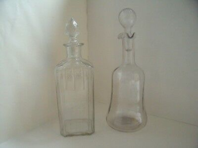 Job Lot Two Vintage Decanters with Stoppers - 1 Blown Glass and 1 Pressed Glass