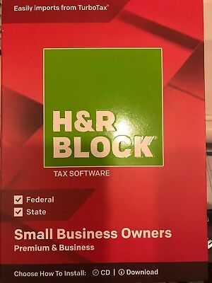H&R Block Tax Software PREMIUM AND BUSINESS  2018 with FREE SHIPPING