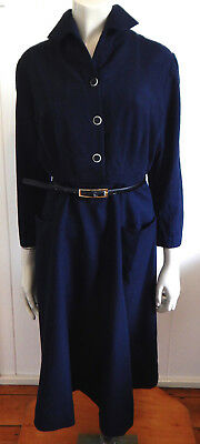Rare vintage 1940s navy blue tailored waisted fine wool dress size 12 - 14