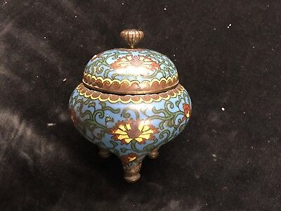 Chinese Late 19th C Cloisonne / Champleve 3 Legged Lidded Pot