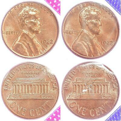 1962 P D Lincoln Memorial Cent BU US Mint Cello 2 Coin Penny Set
