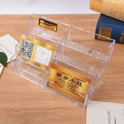 8 Pocket Desktop Business Card Holder Clear Acrylic Countertop Stand Display TT