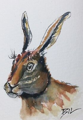ACEO ATC original art miniature painting by Bill Lupton - Long Ears