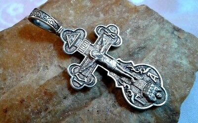 Vintage Sterling Silver Orthodox Crucifix All-Seeing Eye Holy Spirit Virgin Mary