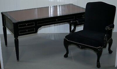 Rrp £17,300 Ralph Lauren Brook Street Desk & Clivedon Black Velvet Office Chair