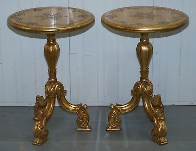 18Th Century Pair Acanthus Vintage Giltwood Painted Side End Lamp Round Tables