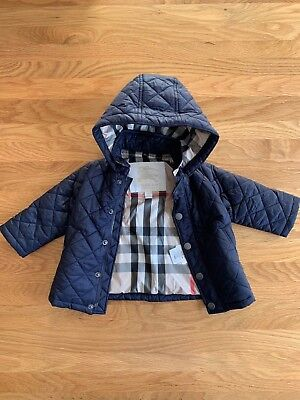 Genuine Burberry Diamond Quilted Navy Blue Coat Jacket For Baby Boy - 6 Months