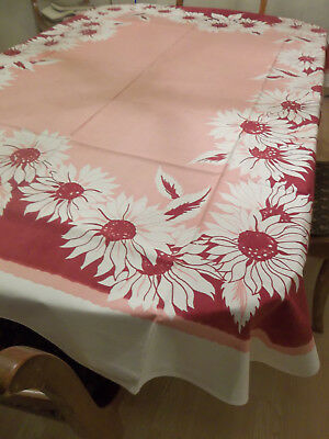 Vintage Cotton Tablecloth 52x66 Pink & Red Flowers Bold