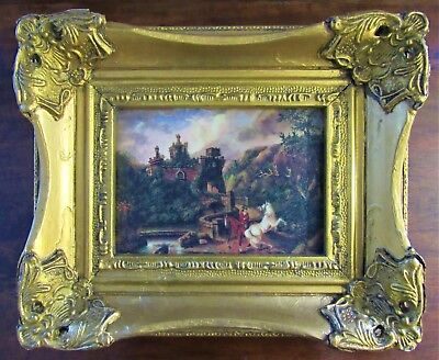 A BEAUTIFUL SMALL ANTIQUE 19th CENTURY STYLE OIL ON PANEL PAINTING OF A CASTLE
