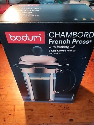 Bodum Java French Press Coffee Tea Maker 8 Cup, 1.0L, Silver, with Locking lid