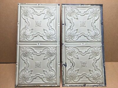 """2pc Lot of 12"""" by 24"""" Antique Ceiling Tin Vintage Reclaimed Salvage Art Craft"""