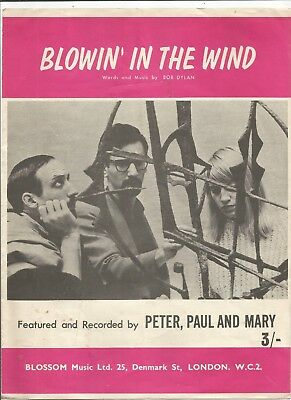 Peter Paul And Mary Blowin The The Wind Sheet Music