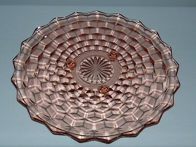 """Vintage Antique American Art Deco Pink Depression Glass Footed 12"""" Cake Plate"""