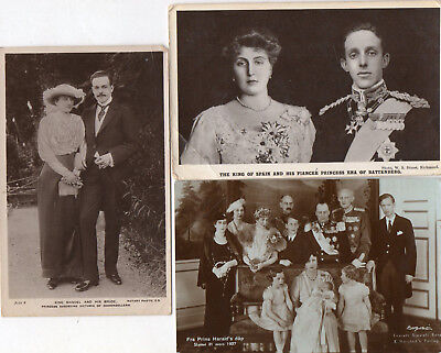 EUROPEAN ROYAL FAMILIES - 11 OLD POSTCARDS, MOST REAL PHOTOS, MANY POSTED c1910