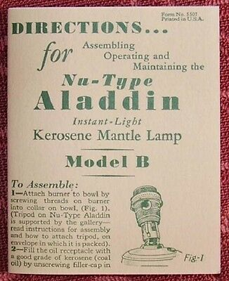 ALADDIN LAMP BOOKLET / B BURNER reprint 1930s user manual / alladin oil kerosene