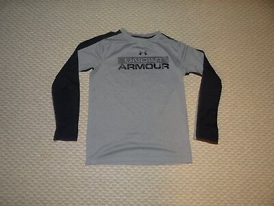 UNDER ARMOUR Coldgear Youth Boys Long Sleeve Loose Fit Gray Black Top Size M
