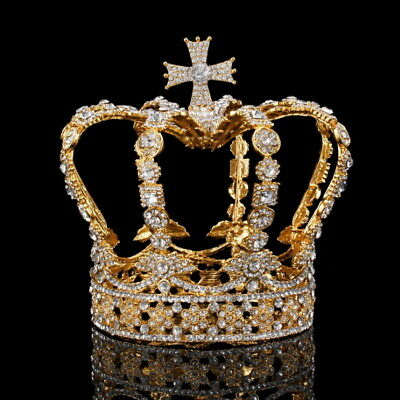 "Cross Crystal Crown Wedding Bridal Party Pageant Prom 5"" Wide 5"" High 2 Colours"