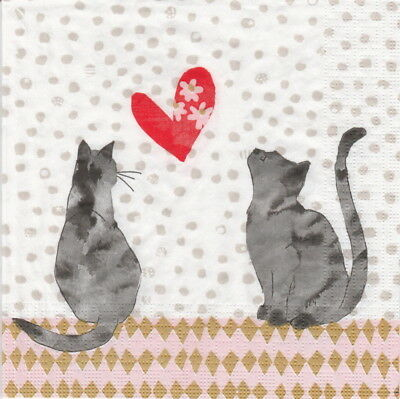 4x Paper Napkins for Decoupage Craft Carson Higham: Cats in love