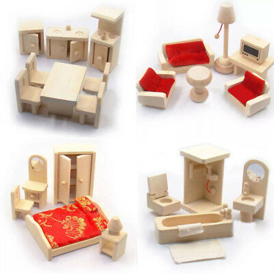Wooden Miniature Furniture Set Shows Party Room Kid Dolls House Doll For Gift