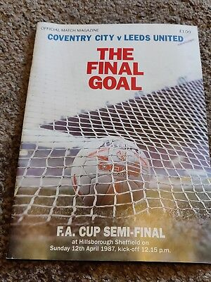 Coventry City v Leeds United, 12/04/1987 - FA Cup Semi-Final Match Programme.