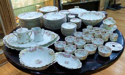 102 Pieces Haviland Limoges China Pink Roses SCARCE