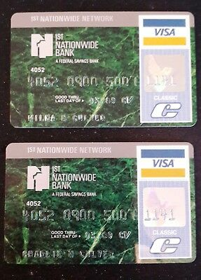 2 Vintage Credit Cards 1St National Bank 1989 One Signed On Unsigned